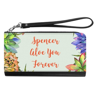 Succulents Genuine Leather Smartphone Wrist Wallet (Personalized)