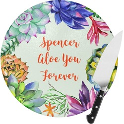 Succulents Round Glass Cutting Board (Personalized)