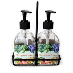 Succulents Soap & Lotion Dispenser Set (Glass) (Personalized)