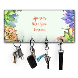 Succulents Key Hanger w/ 4 Hooks (Personalized)