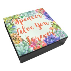 Succulents Leatherette Keepsake Box - 3 Sizes (Personalized)