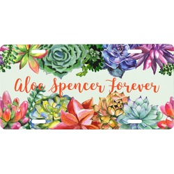 Succulents Front License Plate (Personalized)