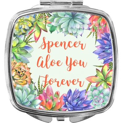 Succulents Compact Makeup Mirror (Personalized)