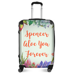 """Succulents Suitcase - 24""""Medium - Checked (Personalized)"""