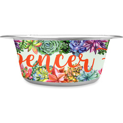 Succulents Stainless Steel Pet Bowl (Personalized)