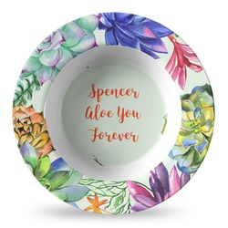 Succulents Plastic Bowl - Microwave Safe - Composite Polymer (Personalized)