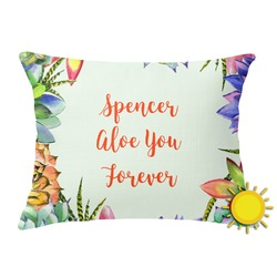 Succulents Outdoor Throw Pillow (Rectangular) (Personalized)