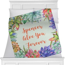 "Succulents Fleece Blanket - Twin / Full - 80""x60"" - Double Sided (Personalized)"