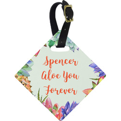 Succulents Diamond Luggage Tag (Personalized)