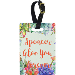 Succulents Rectangular Luggage Tag (Personalized)