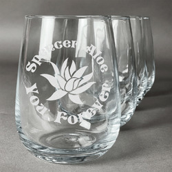 Succulents Wine Glasses (Stemless Set of 4) (Personalized)
