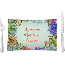 Succulents Glass Rectangular Lunch / Dinner Plate - Single or Set (Personalized)