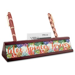 Succulents Red Mahogany Nameplate with Business Card Holder (Personalized)