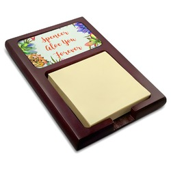 Succulents Red Mahogany Sticky Note Holder (Personalized)