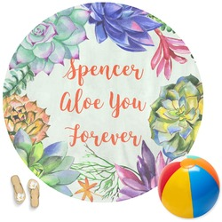 Succulents Round Beach Towel (Personalized)