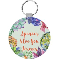 Succulents Round Keychain (Personalized)