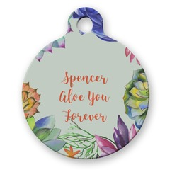 Succulents Round Pet Tag (Personalized)
