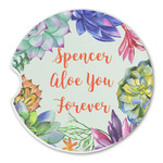 Succulents Sandstone Car Coasters (Personalized)