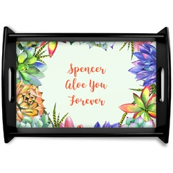 Succulents Black Wooden Tray (Personalized)