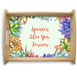 Succulents Natural Wooden Tray - Large (Personalized)