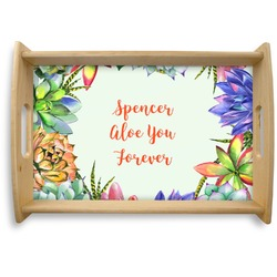 Succulents Natural Wooden Tray (Personalized)
