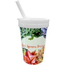 Succulents Sippy Cup with Straw (Personalized)