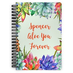 Succulents Spiral Bound Notebook (Personalized)