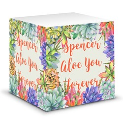 Succulents Sticky Note Cube (Personalized)