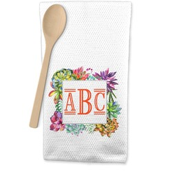 Succulents Waffle Weave Kitchen Towel (Personalized)