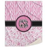 Zebra & Floral Sherpa Throw Blanket (Personalized)