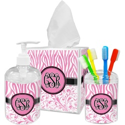 Zebra & Floral Bathroom Accessories Set (Personalized)