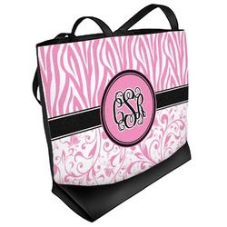Zebra & Floral Beach Tote Bag (Personalized)