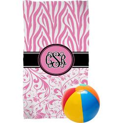 Zebra & Floral Beach Towel (Personalized)