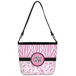 Zebra & Floral Bucket Bag w/ Genuine Leather Trim (Personalized)