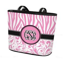 Zebra & Floral Bucket Tote w/ Genuine Leather Trim (Personalized)