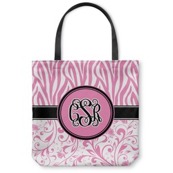 Zebra & Floral Canvas Tote Bag (Personalized)