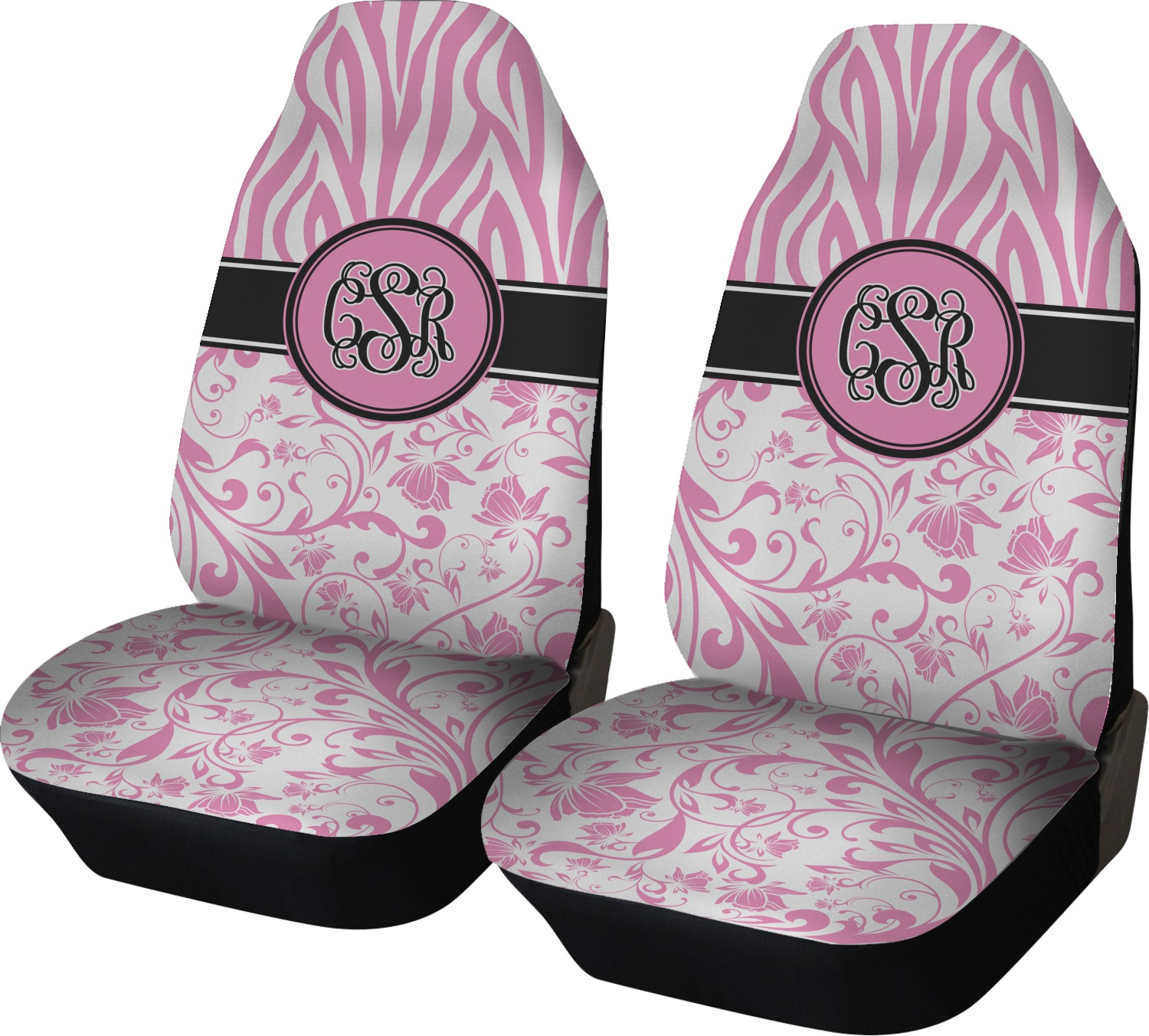 Zebra Amp Floral Car Seat Covers Set Of Two Personalized