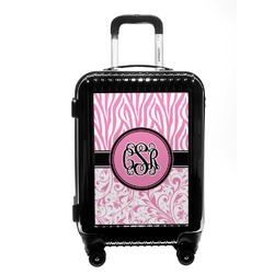 Zebra & Floral Carry On Hard Shell Suitcase (Personalized)