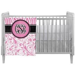 Zebra & Floral Crib Comforter / Quilt (Personalized)