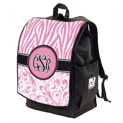 Zebra & Floral Backpack w/ Front Flap  (Personalized)