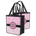 Zebra & Floral Grocery Bag (Personalized)