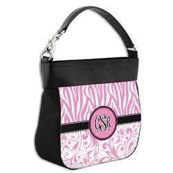 Zebra & Floral Hobo Purse w/ Genuine Leather Trim (Personalized)