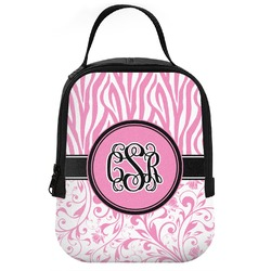 Zebra & Floral Neoprene Lunch Tote (Personalized)