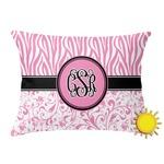 Zebra & Floral Outdoor Throw Pillow (Rectangular) (Personalized)