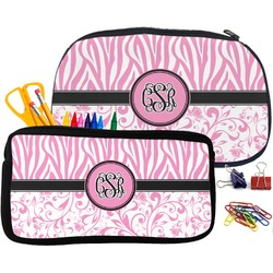 Zebra & Floral Pencil / School Supplies Bag (Personalized)