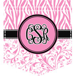 Zebra & Floral Iron On Faux Pocket (Personalized)
