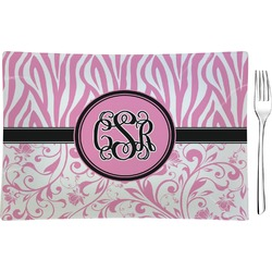 Zebra & Floral Glass Rectangular Appetizer / Dessert Plate - Single or Set (Personalized)