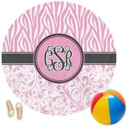 Zebra & Floral Round Beach Towel (Personalized)
