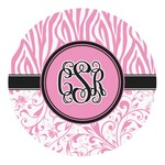 Zebra & Floral Round Decal (Personalized)