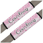 Zebra & Floral Seat Belt Covers (Set of 2) (Personalized)